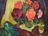 91-Натюрморт с розами-хм-37х47