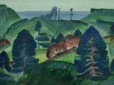 73-Пейзаж острова Шикотан.Из серии Курилы-б акв-47х65
