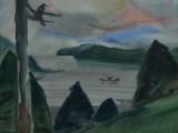 73-Пейзаж с вороной.Из серии Курилы-б акв-41х54